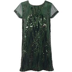 Girls 7-16 Bonnie Jean Sequin Detail Velvet Shift Dress