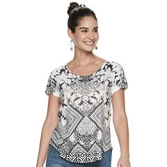 Women's World Unity Shimmer-Detail Printed Top
