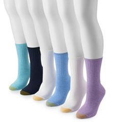 Women's GOLDTOE® 6-Pack Casual Ribbed Crew Socks