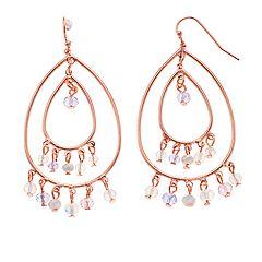 LC Lauren Conrad Rose Gold Tone Clear Bead Detail Teardrop Nickel Free Hoop Earrings