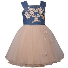 Girls 7-16 Bonnie Jean Denim Bodice & Tulle Skirt Embroidered Flower Detail Dress