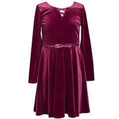 Girls 7-16 Bonnie Jean Velvet Lattice Neckline Satin Trimmed Dress