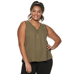 Juniors' Plus Size Candie's® Mixed-Media Zipper Tank Top
