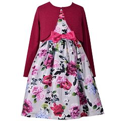 Girls 7-16 Floral Pattern Bow Detail Dress & Cardigan