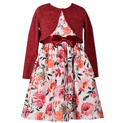 Girls 7-16 Bonnie Jean Floral Pattern Bow Detail Dress & Cardigan