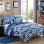 Colin Blue Plaid Reversible Quilt Set