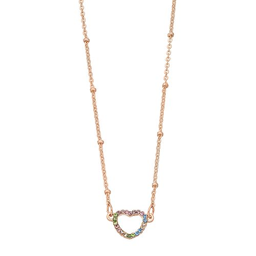 LC Lauren Conrad Rose Gold Tone Rainbow Simulated Stone Detail Heart Motif Pendant Necklace