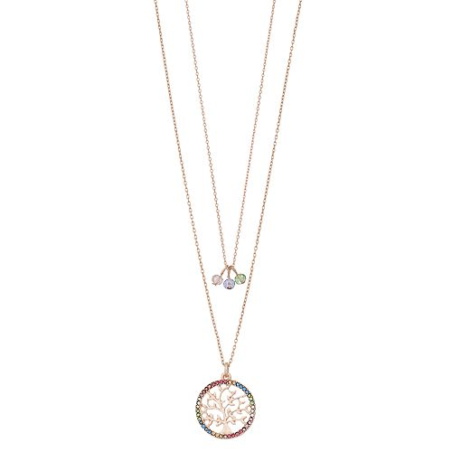 9a7c86882a88d1 LC Lauren Conrad Rose Gold Tone Rainbow Simulated Stone Tree Pendant Multi Strand  Necklace