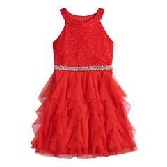 Girls 7-16 My Michelle Glitter Halter Lace Bodice Cork Screw Skirt Short Dress
