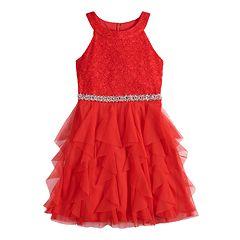 Girls 7-16 My Michelle Glitter Halter Lace Bodice Cork Screw Skirt Short Dress