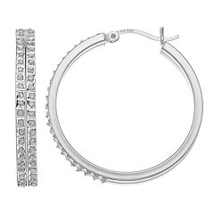 Diamond Mytique Sterling Silver Diamond Accent DoubleHoop Earrings