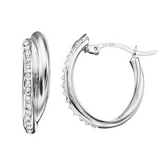 Diamond Mystique Sterling Silver Diamond Accent Double Oval Hoop Earrings