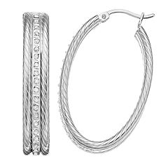 Diamond Mystique Sterling Silver Diamond Accent Oval Rope Hoop Earrings
