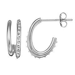 Diamond Mystique Sterling Silver Diamond Accent Double J-Hoop Earrings