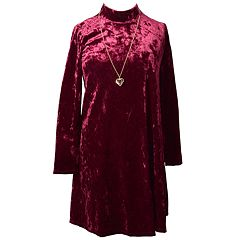 Girls 7-16 Bonnie Jean Crushed Velvet Mock Neck A-Line Necklace Detail Dress