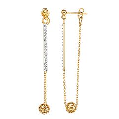 Diamond Mystique Sterling Silver Diamond Accent Ball Drop Earrings