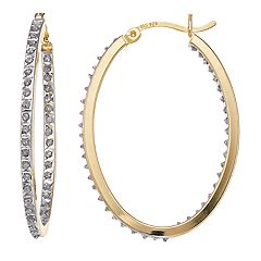 Diamond Mystique Sterling Silver Inside Out Diamond Accent Oval Hoop Earrings