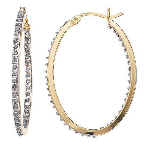 Diamond Mystique Sterling Silver Inside Out Diamond Accent Oval Hoop Earrings