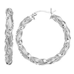 Diamond Mystique Sterling Silver Diamond Accent Ribbon Twist Hoop Earrings