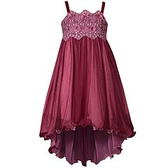 Girls 7-16 Bonnie Jean Three Dimensional Embroidered Mesh Bodice Dress