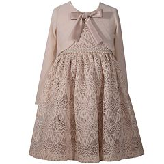 Girls 7-16 Bonnie Jean Satin Bow Detail Lace Dress & Cardigan