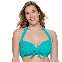 Plus Size Apt. 9® Bust Enhancer Tie-Front Halter Bikini Top