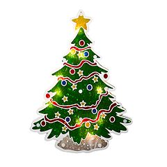 Northlight Seasonal Lighted Holographic Christmas Tree Window Silhouette