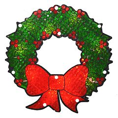 Northlight Seasonal Lighted Berry Wreath Window Silhouette