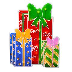 Northlight Seasonal Lighted Shimmering Christmas Present Window Silhouette