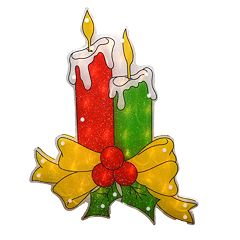 Northlight Seasonal Shimmering Candle Christmas Window Silhouette