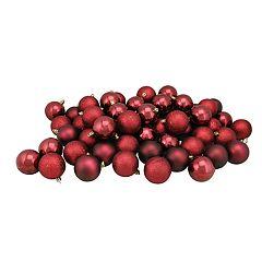 Northlight Seasonal Burgundy Red Shatterproof Ball Christmas Ornament 60-piece Set