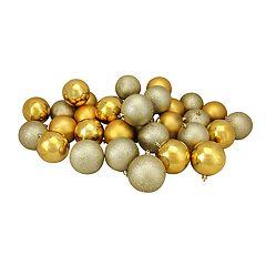 Northlight Seasonal Gold Shatterproof Ball Christmas Ornament 32-piece Set