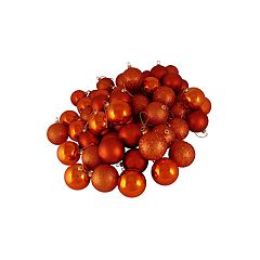 Northlight Seasonal Burnt Orange Shatterproof Ball Christmas Ornament 60-piece Set