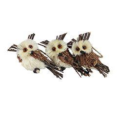 Northlight Seasonal Sisal Owl Christmas Ornament 3-piece Set