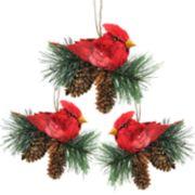 Northlight Seasonal Cardinal & Pine Cone Christmas Ornament 3-piece Set