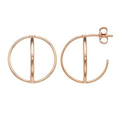 Love This Life Open Oval Post Hoop Earrings
