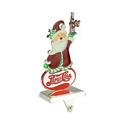 Northlight Seasonal Silver Plated Pepsi-Cola Santa Christmas Stocking Holder