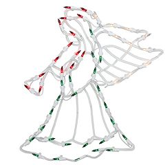Northlight Seasonal Lighted Red White and Green Angel Christmas Window Silhouette Decoration