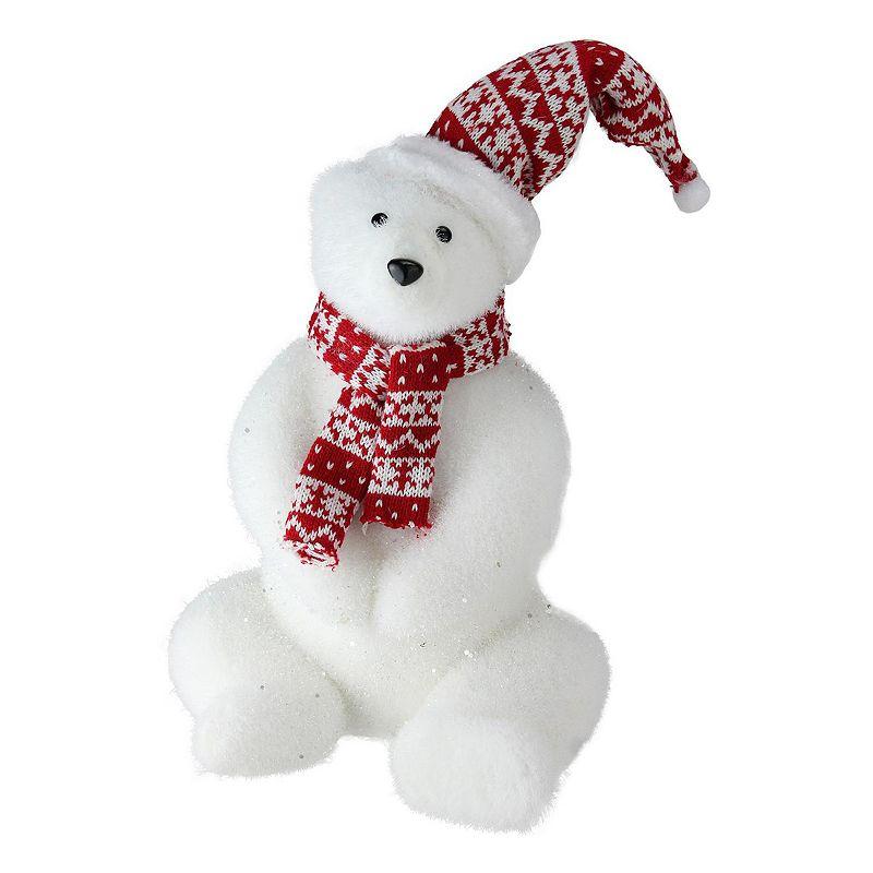 Northlight Seasonal Glitter Polar Bear in Nordic Hat and Scarf Decoration, White
