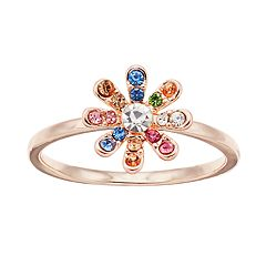 LC Lauren Conrad Rose Gold Tone Rainbow Simulated Stone Flower Motif Ring