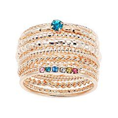 LC Lauren Conrad Rainbow Stacking Ring Set