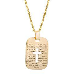 14k Gold Spanish 'The Lord's Prayer' Cross Pendant