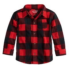 Toddler Boy Jumping Beans® Checked Fleece Button Down Shirt