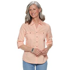 Women's Croft & Barrow® Knit-to-Fit Solid Shirt