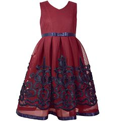 Girls 7-16 Bonnie Jean Embroidered Ribbon Trim Pleated Dress