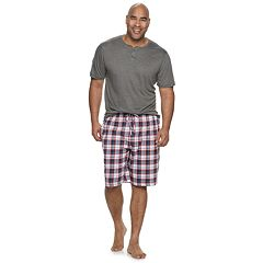 Big & Tall Cuddl Duds Henley & Sleep Shorts Set