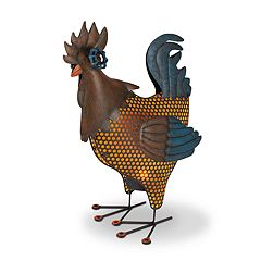 Gerson Solar Indoor / Outdoor Metal Rooster Floor Decor