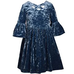 Girls 7-16 Bonnie Jean Crushed Velvet Bell Sleeve Criss Cross Neckline Dress