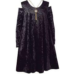 Girls 7-16 Bonnie Jean Crushed Velvet Cold Shoulder Cutout Necklace Detail Dress