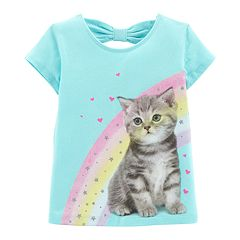 Toddler Girl Carter's Bow-Back Glittery Graphic Tee